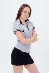 Bayan Gömlek Beyaz Gri Model 710 2 214