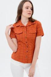 Kiremit kısa kol bayan gömlek  4250-2 -2