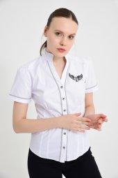 Armalı Beyaz Kısa Kol Bayan Gömlek 4665 2