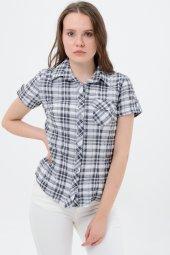 Kısa kol gri kareli bayan gömlek 5325-2