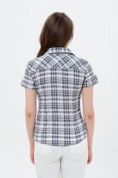 Kısa kol gri kareli bayan gömlek 5325-2 -2