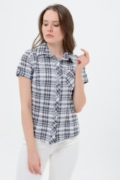 Kısa kol gri kareli bayan gömlek 5325-2 -3