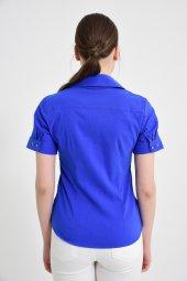 Fermuar cebli saks mavisi bayan gömlek 4745-2 -2