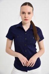 çift Cepli Kısa Kol Bayan Lacivert Gömlek 4415 2 9