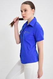 Fermuar cebli saks mavisi bayan gömlek 4745-2 -3