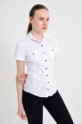 Beyaz kısa kol bayan gömlek 4415-2-9 -2