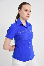 Fermuar cebli saks mavisi bayan gömlek 4745-2 -4