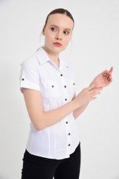 Beyaz kısa kol bayan gömlek 4415-2-9 -3