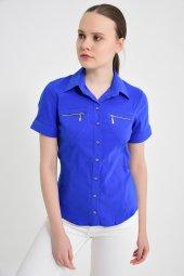 Fermuar cebli saks mavisi bayan gömlek 4745-2 -5