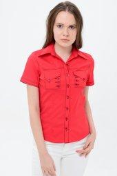 Kırmızı kısa kol bayan gömlek 4275-2