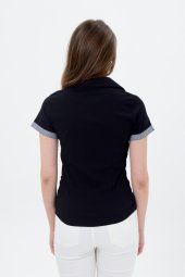 Siyah kısa kol bayan gömlek 4500-2-9