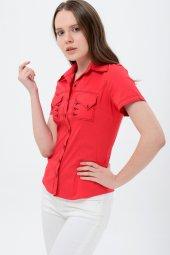 Kırmızı kısa kol bayan gömlek 4275-2 -2