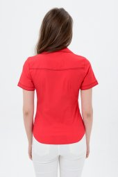 Kırmızı kısa kol bayan gömlek 4275-2 -3