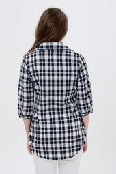 Bayan Kareli Siyah Beyaz Gömlek Tunik 7005 4