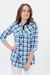 Bayan kareli gömlek tunik 7008-3