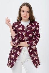 Bayan Bordo Çiçekli Ceket 2605 4