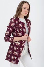 Bayan bordo çiçekli ceket 2605-4-2