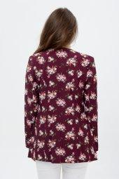Bayan bordo çiçekli ceket 2605-4-3
