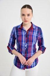 Mavi Kareli Bayan Uzun Kol Gömlek 4842 5