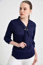 Lacivert fularlı bayan bluz 6405-3