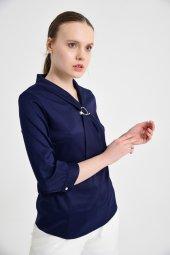 Lacivert fularlı bayan bluz 6405-3  -2