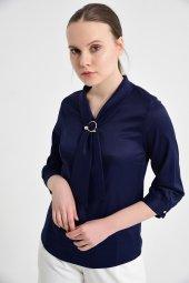 Lacivert fularlı bayan bluz 6405-3  -3