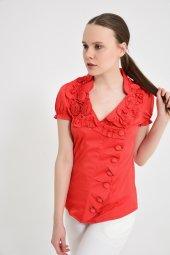 Kırmızı yan düğmeli  bluz 4295-2-3