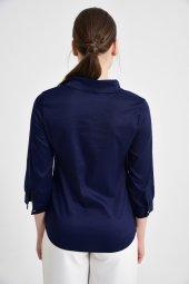 Lacivert fularlı bayan bluz 6405-3  -4