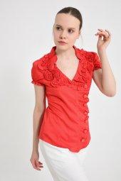 Kırmızı yan düğmeli  bluz 4295-2-4