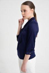 Lacivert fularlı bayan bluz 6405-3  -5