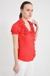 Kırmızı yan düğmeli  bluz 4295-2-5