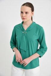 Yeşil Fularlı Bayan Bluz 6405 3