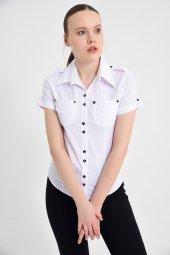 Beyaz Çift Cepli Kısa Kol Bayan Gömlek 425 2 9