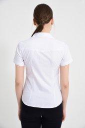 Beyaz Kısa Kol Çift Cep Bayan Gömlek 4275 2