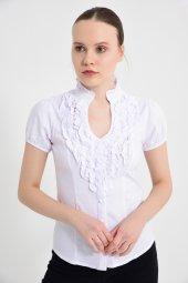 Beyaz Önü Fırfırlı Bayan Bluz 4375 2 9