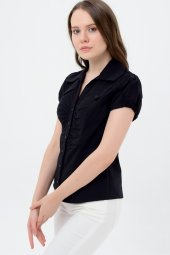 Siyah Kısa Kol Bayan Gömlek 625 2 9