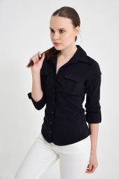 Siyah Uzun Kol Bayan Gömlek 4510 4 9
