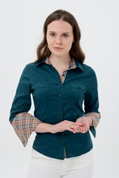 Uzun Kol Yeşil Yaka Desenli Bayan Gömlek 4415 3