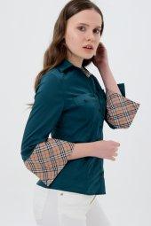 uzun kol yeşil yaka desenli bayan gömlek 4415-3-2