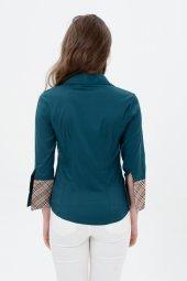 uzun kol yeşil yaka desenli bayan gömlek 4415-3-3