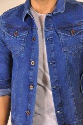 Koyu Mavi Düğmeli Erkek Kot Ceket