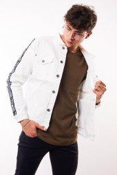 Kolları Şerit Detay Erkek Beyaz Kot Ceket-2