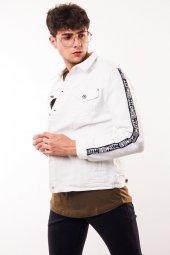 Kolları Şerit Detay Erkek Beyaz Kot Ceket-3