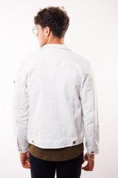 Gri Düğmeli Beyaz Yıpratmalı Erkek Kot Ceket-4