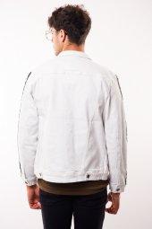 Kolları Şerit Detay Erkek Beyaz Kot Ceket-4
