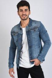 Omuz Detay Mavi Erkek Kot Ceket