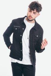 Nakışlı Erkek Siyah Gabardin Ceket -3