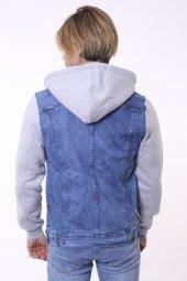 Mavi Kapşonlu Erkek Kot Ceket-6