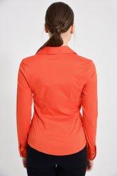 Turuncu uzun kol bayan gömlek 4415-4