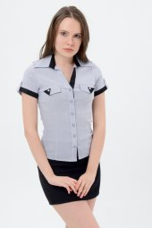 Gri Kısa Kol Siyah Şeritli Bayan Gömlek 710 2